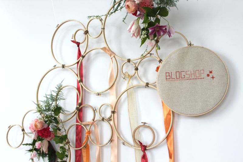 Embroidery hoop wall art at Blogshop Boston