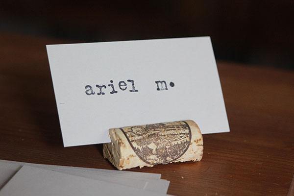 DIY wine cork placecard holders