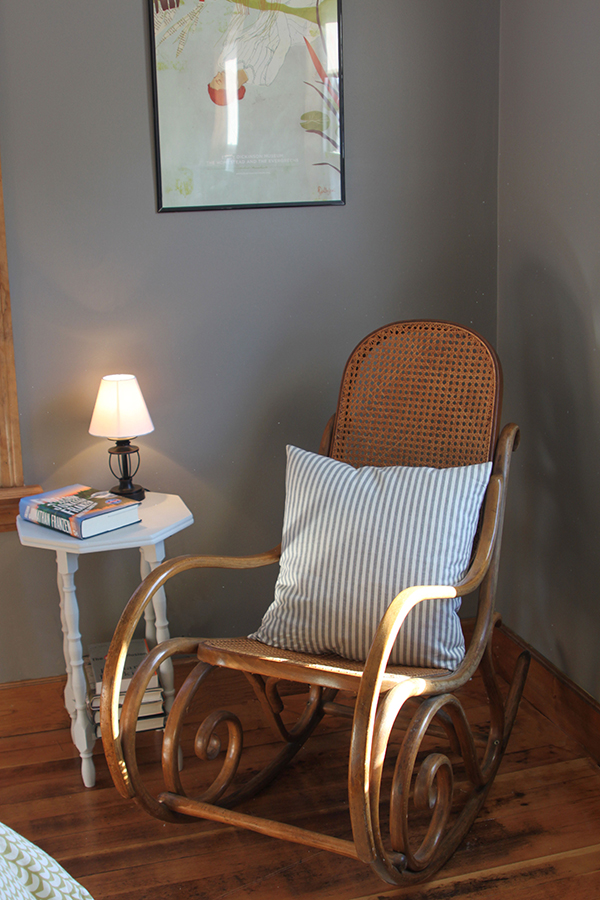 Reading nook with Bentwood rocker