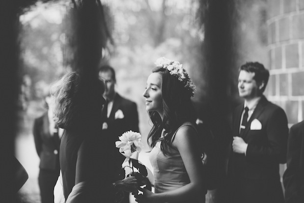 Maid of honor in flower crown / Love + Perry Photography