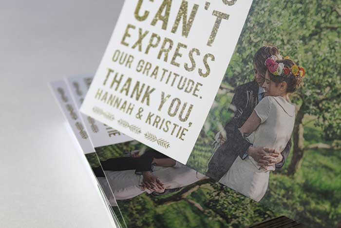 Wedding thank-you cards from Mostaza Seed Graphics