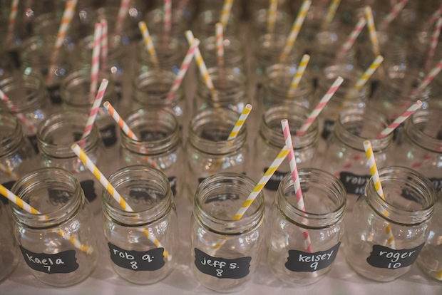Mason jars with chalk labels as escort cards / Love + Perry Photography