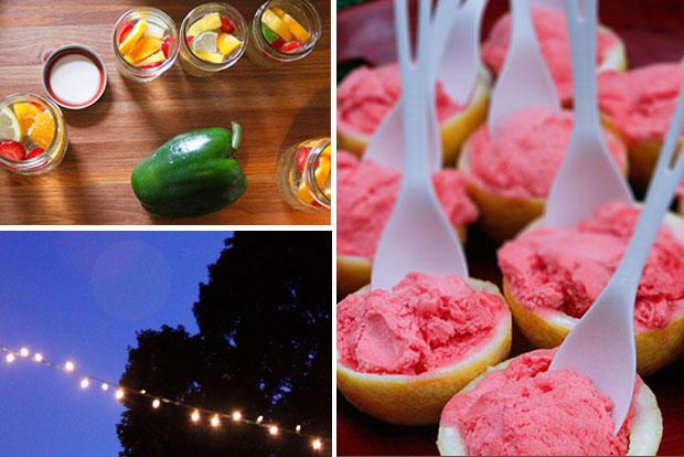 Backyard dinner party: Sangria in mason jars, Christmas tree lights, and sorbet in lemon cups
