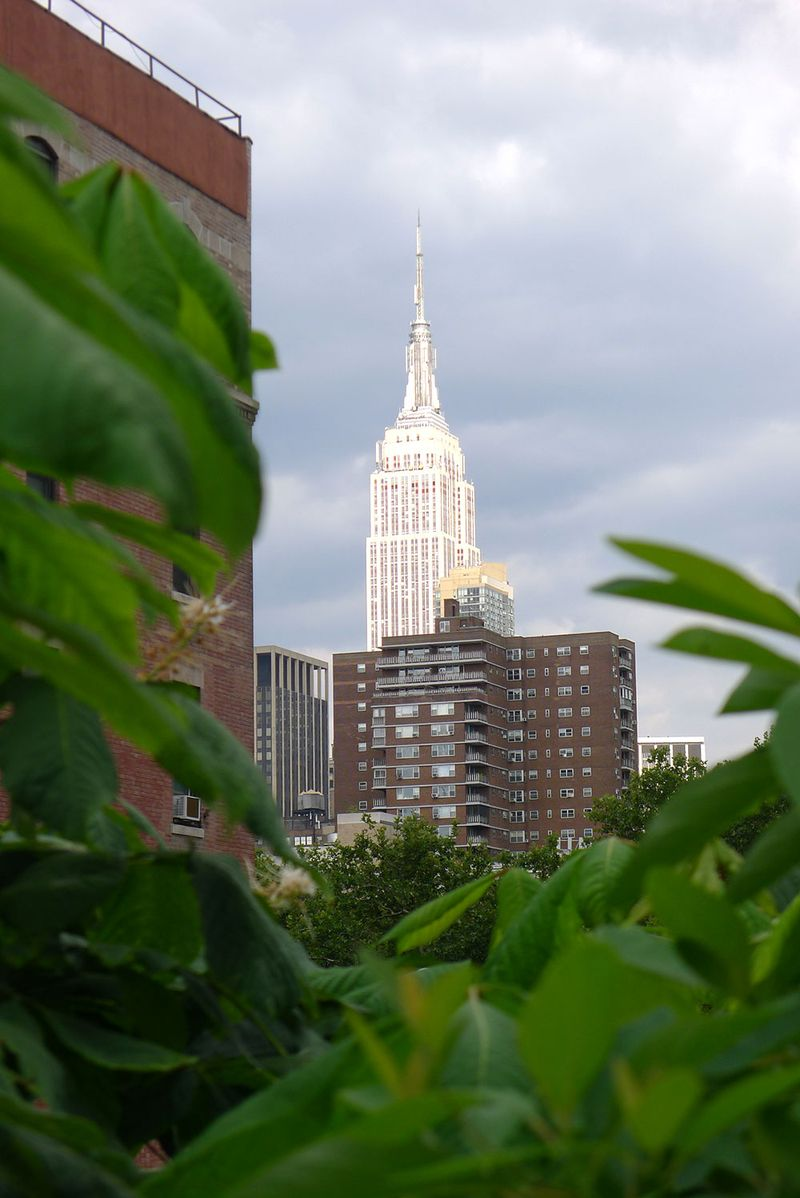 View of the Empire State Building from the High Line, NYC