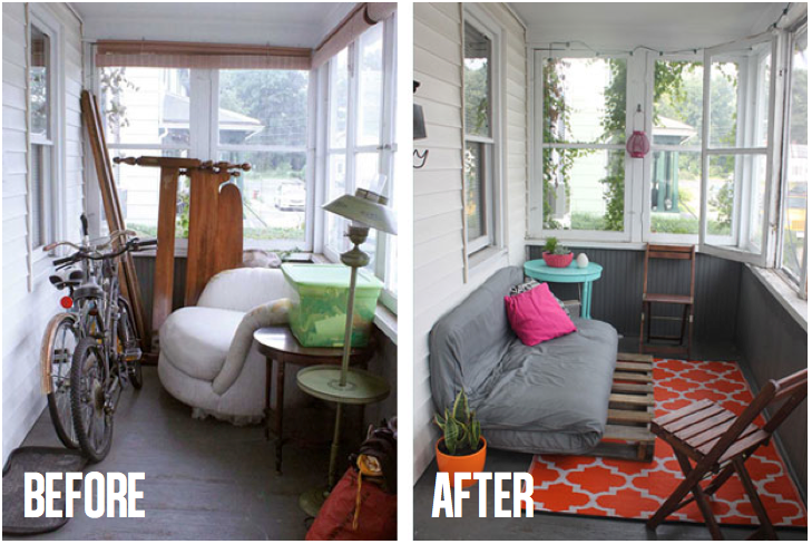 Bright and colorful front porch makeover
