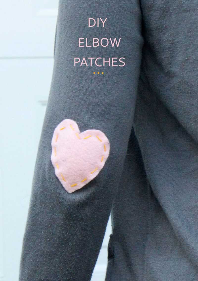 DIY heart-shaped elbow patches