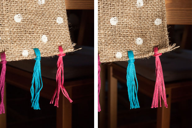 Use a straightening iron to smooth embroidery thread tassels